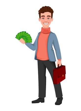 Successful business man. Handsome businessman holding money and briefcase. Cheerful cartoon character. Vector illustration on white background