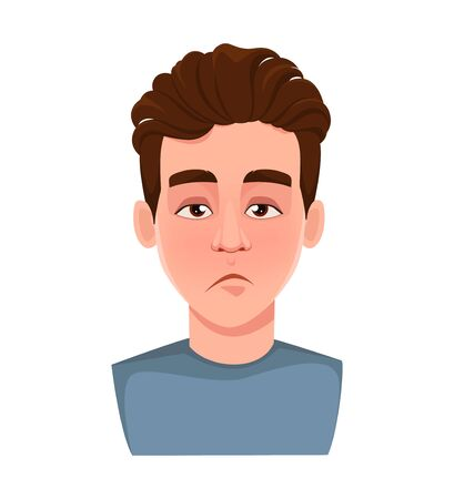 Face expression of handsome man, tired. Male emotion. Young guy cartoon character. Vector illustration isolated on white background.