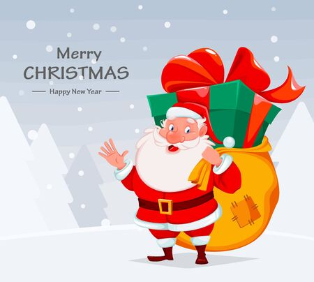 Merry Christmas. Cheerful Santa Claus holding big sack with presents and giant gift box. Santa cartoon character. Vector illustration with winter forest on background Stock Illustratie