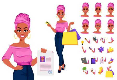 Young beautiful African American business woman, pack of body parts, emotions and things. Cute businesswoman cartoon character. Build your personal design. Vector illustration