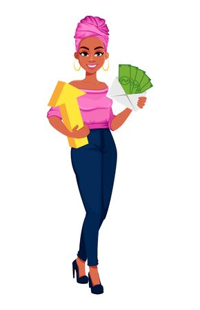 Young beautiful African American business woman holding money and arrow. Cute businesswoman cartoon character. Vector illustration on white background