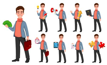 Successful business man, set of nine poses. Handsome businessman. Cheerful cartoon character. Vector illustration on white background