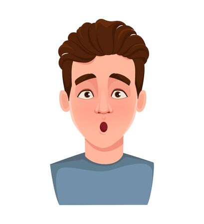 Face expression of handsome man, surprised. Male emotion. Young guy cartoon character. Vector illustration isolated on white background.