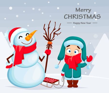 Merry Christmas and Happy New Year. Funny snowman and cute girl in warm clothes standing with sled. Vector illustration with winter forest on background