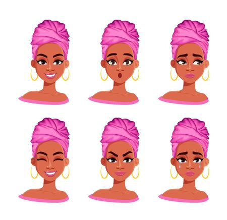 Expressions du visage de la belle femme afro-américaine. Ensemble d'émotions féminines différentes. Personnage de dessin animé de dame mignonne. Illustration vectorielle isolée sur fond blanc.