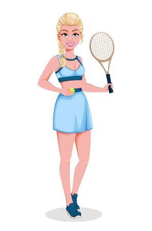 Beautiful woman tennis player. Cute blonde lady with a racket. Cheerful cartoon character. Vector illustration on white background