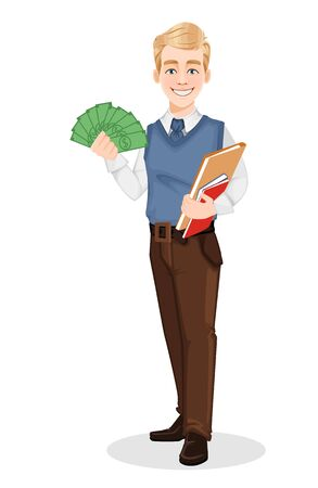 Successful businessman in office style clothes. Handsome blonde businessman holding documents and money. Cheerful cartoon character. Vector illustration on white background