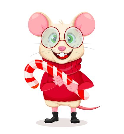 Merry Christmas and Happy New Year. Funny rat in glasses. Cute cartoon character rat holding candy cane. Vector illustration on white background.