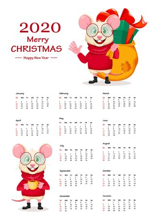 Merry Christmas and Happy New Year. Calendar of 2020 year. Funny rat in glasses. Cute cartoon character rat. Vector illustration. Ilustracja