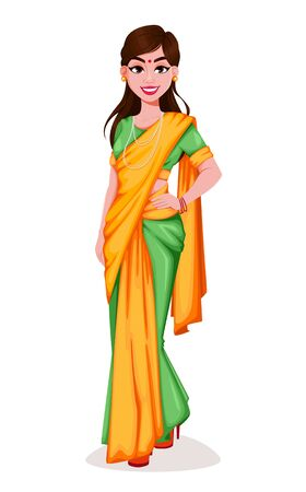 Beautiful Indian woman. Pretty lady cartoon character. Usable for traditional holidays (Lohri, Pongal, Independence Day of India etc.). Vector illustration on white background Ilustracja