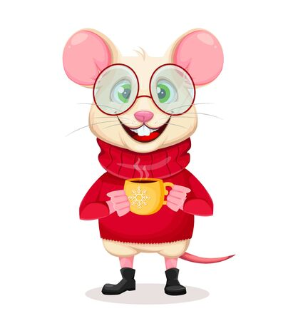 Merry Christmas and Happy New Year. Funny rat in glasses. Cute cartoon character rat holding a cup of coffee. Vector illustration on white background.  Ilustracja