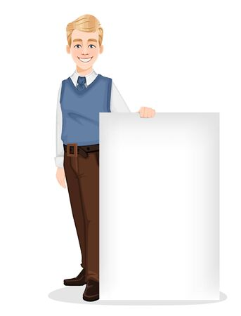 Successful business man in office style clothes. Handsome blonde businessman standing near blank banner. Cheerful cartoon character. Vector illustration on white background Ilustracja