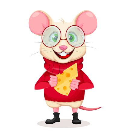 Merry Christmas and Happy New Year 2020 greeting card with funny rat in glasses holding cheese. Funny cartoon character rat. Vector illustration.