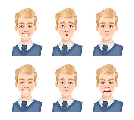 Face expressions of handsome man with blonde hair. Different male emotions set. Young guy cartoon character. Vector illustration isolated on white background.