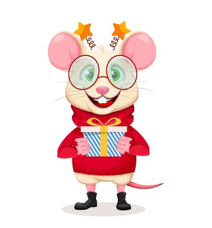 Merry Christmas and Happy New Year. Funny rat in glasses holding gift box. Funny cartoon character rat. Vector illustration.