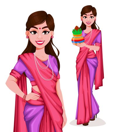 Beautiful Indian woman in traditional clothes, set of two poses. Pretty lady cartoon character. Usable for Indian holidays (Lohri, Pongal, Independence Day of India etc.). Vector illustration Ilustracja