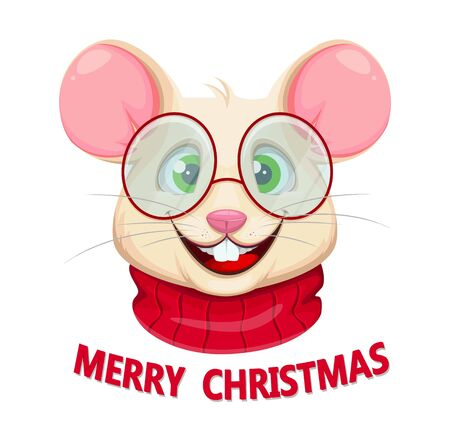 Merry Christmas greeting card with funny rat in glasses. Funny cartoon character rat. Vector illustration.