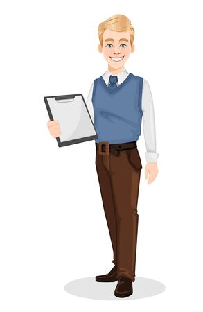 Successful businessman in office style clothes. Handsome blonde businessman holding blank clipboard. Cheerful cartoon character. Vector illustration on white background