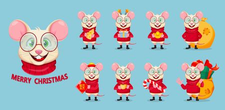 Merry Christmas and Happy New Year. Funny rat in glasses, set of nine poses. Cute cartoon character rat. Vector illustration on blue background. Lettering translates as prosperity