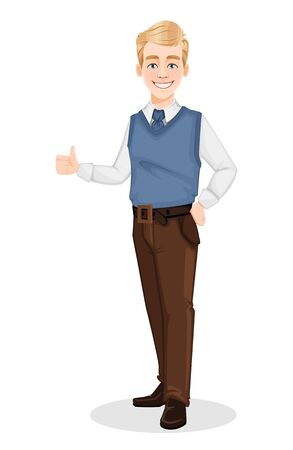 Successful business man in office style clothes. Handsome blonde businessman showings thumbs up sign. Cheerful cartoon character. Vector illustration on white background Ilustracja
