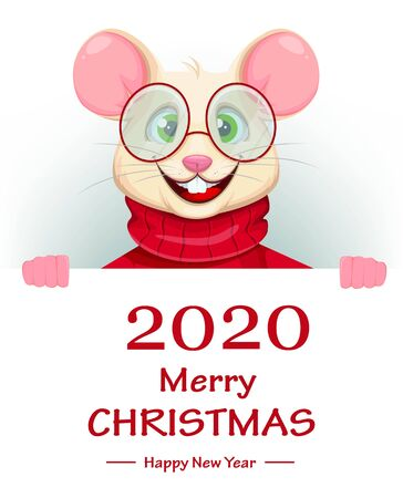 Merry Christmas and Happy New Year 2020 greeting card with funny rat in glasses. Funny cartoon character rat. Vector illustration.