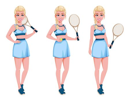 Beautiful woman tennis player, set of three poses. Cute blonde lady with a racket. Cheerful cartoon character. Vector illustration on white background