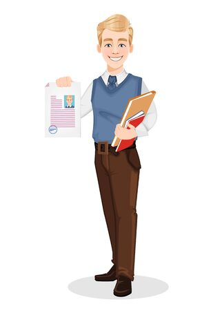 Successful business man in office style clothes. Handsome blonde businessman holding documents. Cheerful cartoon character. Vector illustration on white background