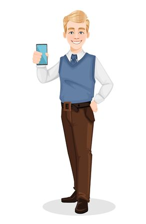 Successful business man in office style clothes. Handsome blonde businessman holding smartphone. Cheerful cartoon character. Vector illustration on white background
