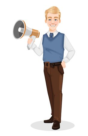Successful business man in office style clothes. Handsome blonde businessman holding loudspeaker. Cheerful cartoon character. Vector illustration on white background