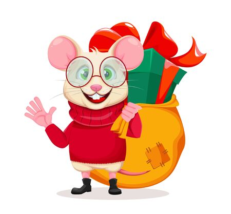 Merry Christmas and Happy New Year 2020 greeting card with funny rat in glasses and big bag with presents behind. Funny cartoon character rat waving hand. Vector illustration.