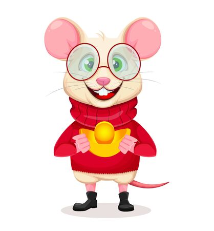 Merry Christmas and Happy New Year. Funny rat in glasses. Cute cartoon character rat. Vector illustration on white background