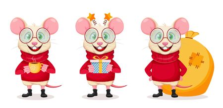 Merry Christmas and Happy New Year. Funny rat in glasses, set of three poses. Cute cartoon character rat. Vector illustration