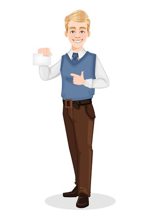Successful businessman in office style clothes. Handsome blonde businessman pointing on blank sign. Cheerful cartoon character. Vector illustration on white background