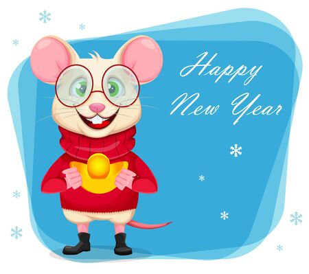Happy New Year greeting card with funny rat in glasses and sweater. Cute cartoon character rat. Vector illustration