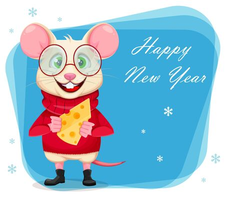 Happy New Year greeting card with funny rat in glasses. Cute cartoon character rat holding cheese. Vector illustration Ilustracja