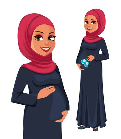 Beautiful pregnant Muslim woman in hijab, set of two poses. Cute Arab lady prepares to be a mother. Muslin girl cartoon character. Vector illustration on white background