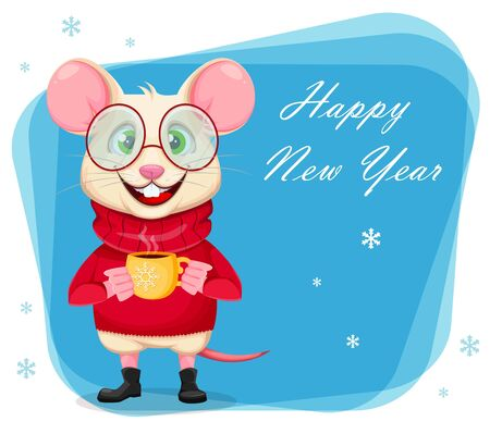 Happy New Year greeting card with funny rat in glasses and sweater. Cute cartoon character rat holding a cup of coffee. Vector illustration  Ilustracja