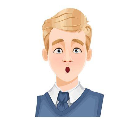 Expression du visage d'un bel homme aux cheveux blonds, surpris. Émotion masculine. Avatar. Personnage de dessin animé. Illustration vectorielle isolée sur fond blanc.