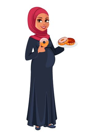 Beautiful pregnant Muslim woman in hijab holding doughnuts. Cute Arab lady prepares to be a mother. Muslin girl cartoon character. Vector illustration on white background Illustration