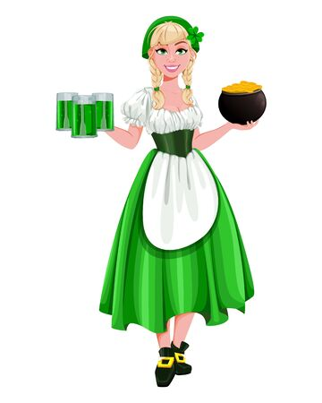 Happy St Patricks Day. Young girl Leprechaun holding three pints of ale and a pot of gold. Beautiful lady in traditional costume, cartoon character. Vector illustration Archivio Fotografico - 138103001
