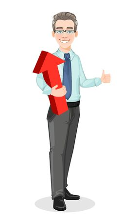 Handsome confident business man holds red arrow and shows thumbs up sign. Businessman cartoon character. Stock vector
