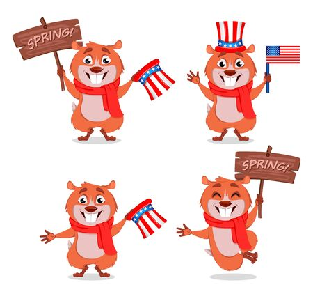 Happy Groundhog Day greeting card. Cute groundhog cartoon character, set of four poses. Stock vector
