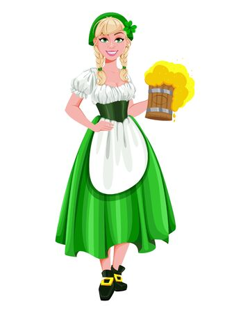 Happy St Patricks Day. Young girl Leprechaun serving beer. Beautiful lady in traditional costume, cartoon character. Vector illustration Archivio Fotografico - 138103065