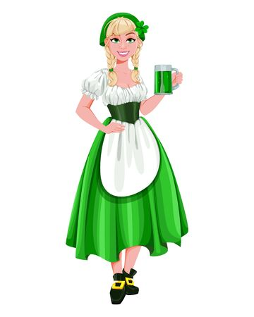 Happy St Patricks Day. Young girl Leprechaun serving ale. Beautiful lady in traditional costume, cartoon character. Vector illustration Archivio Fotografico - 138103066