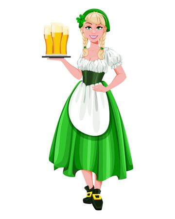 Happy St Patricks Day. Young girl Leprechaun holding three glasses of beer. Beautiful lady in traditional costume, cartoon character. Vector illustration Archivio Fotografico - 138103067
