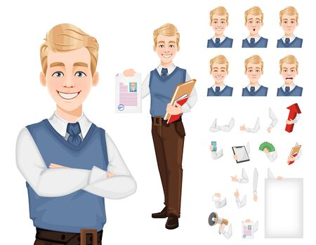 Handsome confident business man, pack of body parts, emotions and things. Create your personal design. Businessman cartoon character. Stock vector