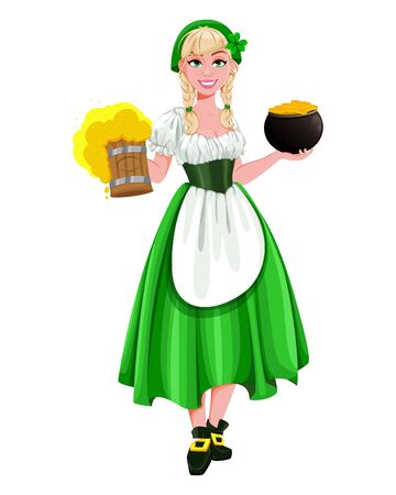 Happy St Patricks Day. Young girl Leprechaun serving beer and holding a pot of gold. Beautiful lady in traditional costume, cartoon character. Vector illustration Archivio Fotografico - 138103073