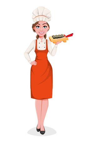 Beautiful young chef woman holding wooden plate with sushi rolls. Pretty cook lady in professional apron and hat. Stock vector illustration