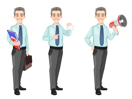 Handsome confident business man, set of three poses. Businessman cartoon character with briefcase and document, with loudspeaker and with blank card. Stock vector Illusztráció