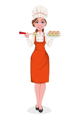 Beautiful young chef woman serving sushi rolls. Pretty cook lady in professional apron and hat. Stock vector illustration